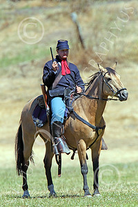 HR-ACWY 00015 A mounted American civil war Yankee cavalryman with a drawn pistol, by Peter J Mancus