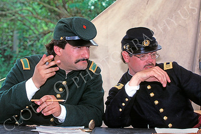 HR-ACWY 00004 Two Yankee officers American Civil War historical reenactors discuss a problem, by Peter J Mancus