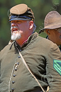 HR-ACWY 00023 A big, burly, American civil war Yankee sergeant sharpshooter historical reenactor yells a command, by Peter J Mancus