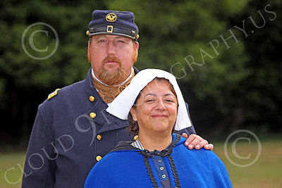 HR-ACWY 00010 An American civil war Yankee officer historical reenactor stands with his proud, loving, beaming wife, by Peter J Mancus