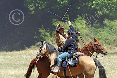 HR-ACWR 00026 A Yankee cavalryman and a Rebel cavalryman fight each other with swords, by Peter J Mancus