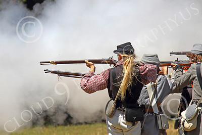 HR-ACWR 00018 Confederate riflemen create a lot a smoke during a battle with only one volley of fire, by Peter J Mancus