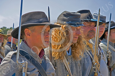 HR-ACWR 00011 A line up of American Civil War Rebel historical reenactors with bayonets on muskets, by Peter J Mancus