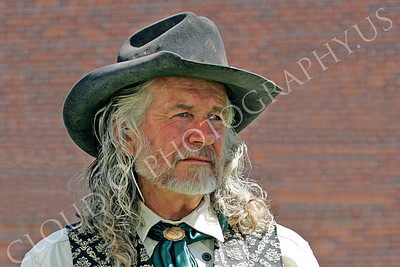 HR - AWGS 00004 American western gunslinger re-enactor with long hair, by Peter J Mancus