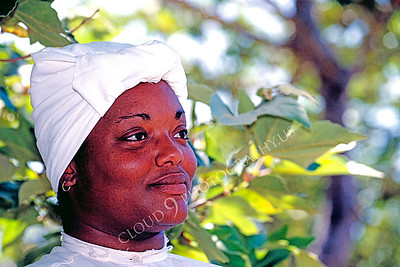 HR-ACWC 00006 American Civil War civilian -- a Black woman stands in the shade of a tree, by Peter J Mancus