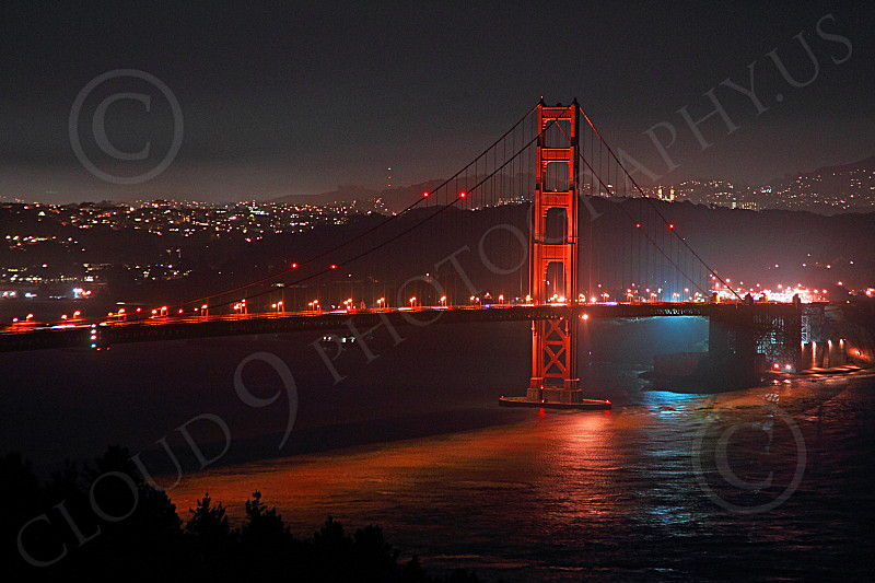 ENGF-GGB 00210 The south side of the Golden Gate Bridge, at night, by Peter J Mancus