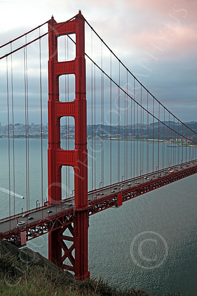 ENGF-GGB 00051 The Marin tower of the Golden Gate Bridge at night, by Peter J Mancus