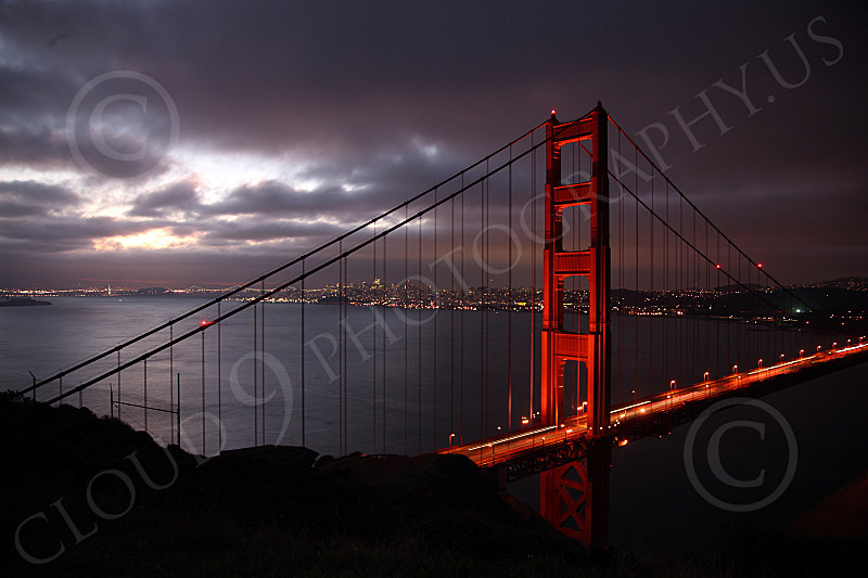 ENGF-GGB 00080 The Marin tower of the Golden Gate Bridge at night, by Peter J Mancus