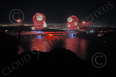 ENGF-GGB 00355 Colorful fireworks burst above the Golden Gate Bridge to celebrate a landmark anniversary picture by Peter J Mancus
