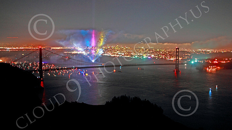ENGF-GGB 00322 Colorful searchlights part of a Golden Gate Bridge anniversary celebration picture by Peter J Mancus