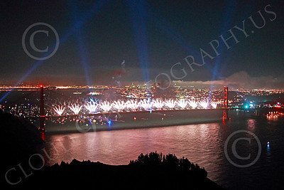 ENGF-GGB 00372 White fireworks erupt along the Golden Gate Bridge to celebrate a landmark anniversary picture by Peter J Mancus