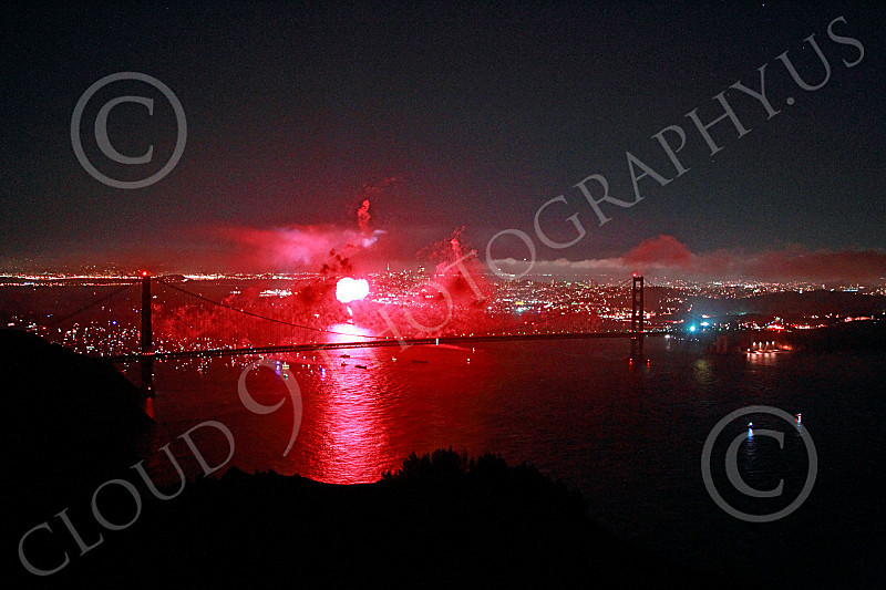 ENGF-GGB 00348 Red fireworks burst above the Golden Gate Bridge to celebrate a landmark anniversary picture by Peter J Mancus