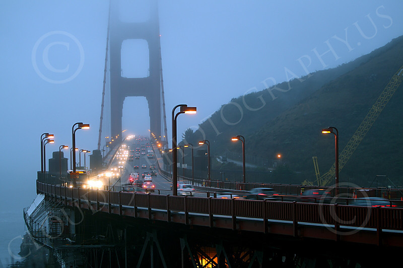 ENGF-GGB 00042 Early morning vehicular traffic on north end of the Golden Gate Bridge, by Peter J Mancus