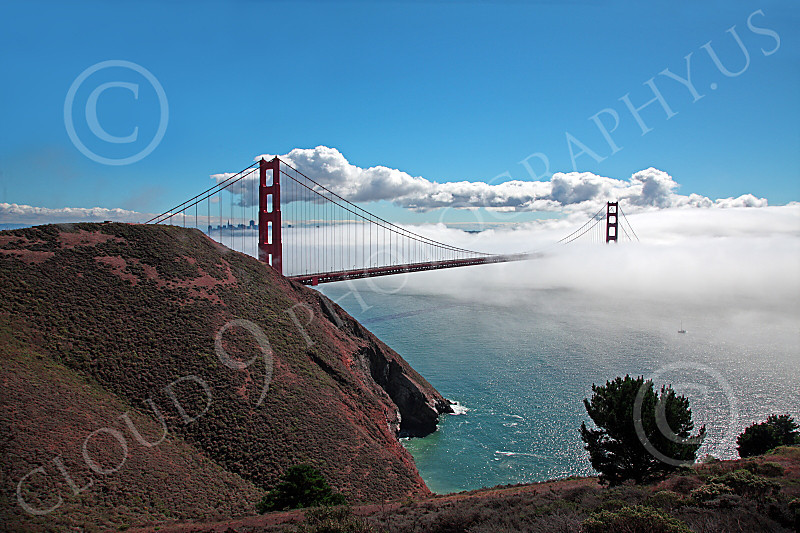 ENGF-GGB 00019 A highlands south view of the Golden Gate Bridge amidst fog and clouds, by Peter J Mancus