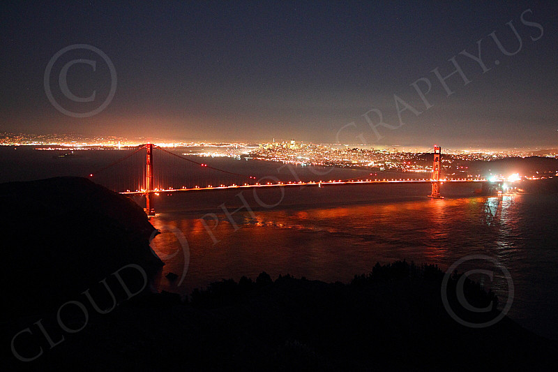 ENGF-GGB 00218 An expansive night view of the Golden Gate Bridge, by Peter J Mancus