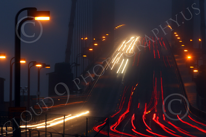 ENGF-GGB 00024 Time lapse photography of night vehicular traffic on north end of the Golden Gate Bridge, by Peter J Mancus