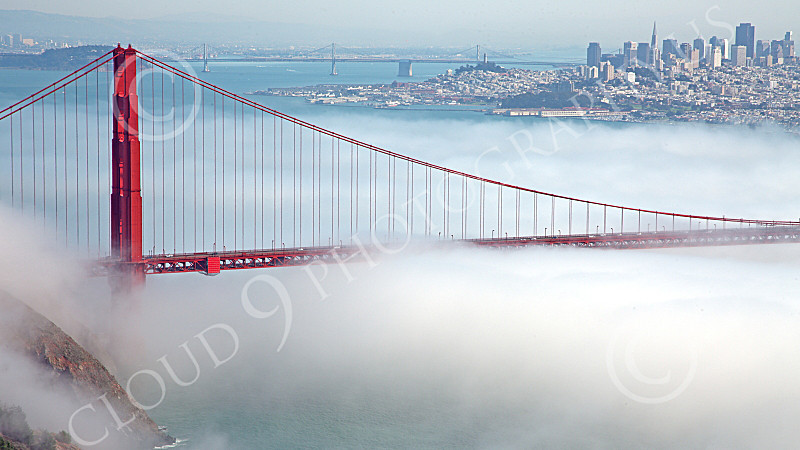 ENGF-GGB 00172 The northern end of the Golden Gate Bridge, engulfed in fog, by Peter J Mancus