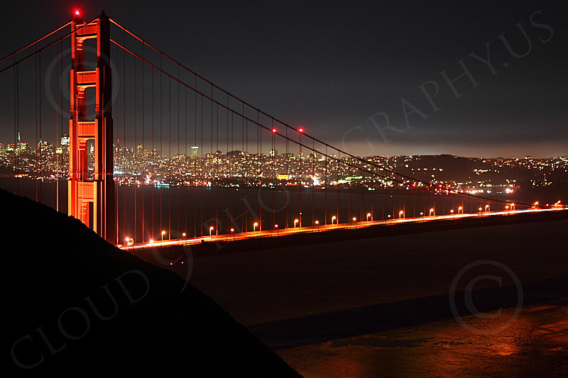 ENGF-GGB 00252 The Golden Gate Bridge's north tower at night, by Peter J Mancus