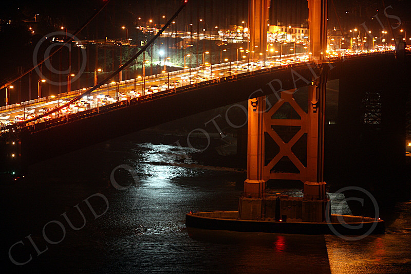 ENGF-GGB 00112 Close up detail Golden Gate Bridge south tower at night, by Peter J Mancus