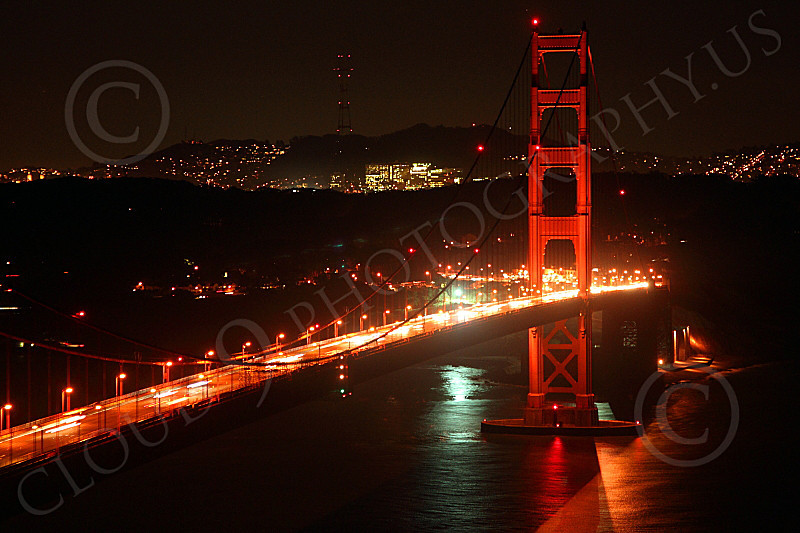 ENGF-GGB 00122 Night scene of the Golden Gate Bridge's south tower, by Peter J Mancus