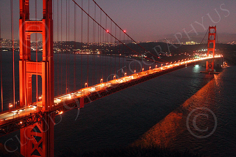 ENGF-GGB 00036 The mid span of the Golden Gate Bridge at night, by Peter J Mancus