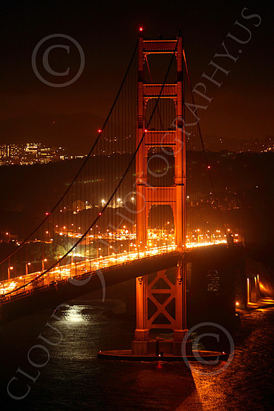 ENGF-GGB 00043 The south tower of the Golden Gate Bridge at night, by Peter J Mancus