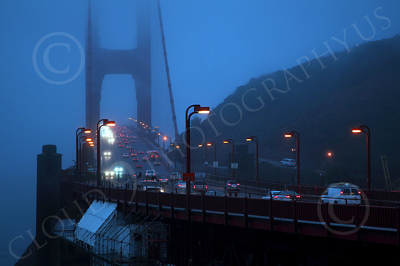 ENGF-GGB 00040 North end of the Golden Gate Bridge at night, by Peter J Mancus