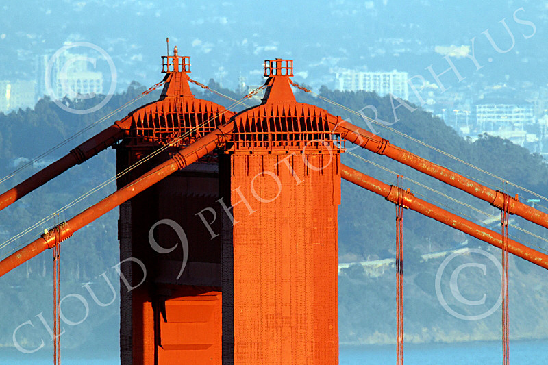 ENGF-GGB 00230 A tight crop of the top of the Golden Gate Bridge's north tower, by Peter J Mancus