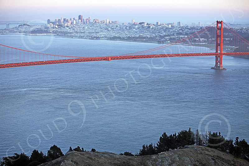 ENGF-GGB 00158 An expansive view of the Golden Gate Bridge's mid-span, with San Francisco in the background, by Peter J Mancus