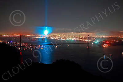 ENGF-GGB 00365 A blue searchlight in San Francisco Bay adds to a festive Golden Gate Bridge landmark anniversary celebration picture by Peter J Mancus
