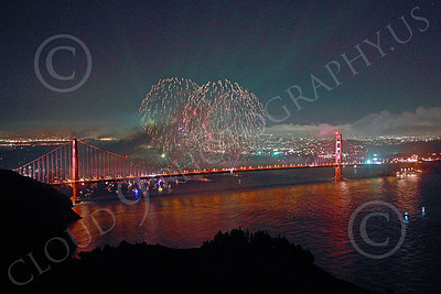 ENGF-GGB 00369 Fireworks burst over the Golden Gate Bridge to celebrate a landmark anniversary picture by Peter J Mancus