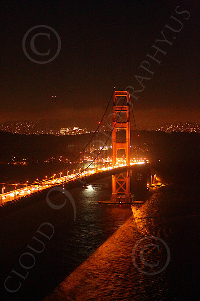 ENGF-GGB 00031 The south tower of the Golden Gate Bridge at night, by Peter J Mancus