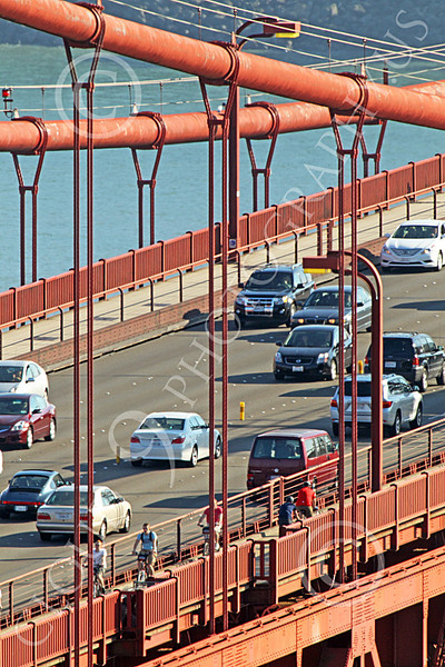 ENGF-GGB 00103 Close up detail of traffic on the Golden Gate Bridge, by Peter J Mancus