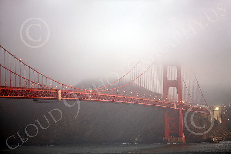 ENGF-GGB 00015 The north tower of the Golden Gate Bridge at twilight in fog, by Peter J Mancus