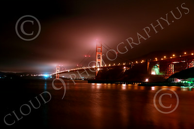 ENGF-GGB 00165 An extreme wide-angle northeast view of the Golden Gate Bridge at night by Peter J Mancus