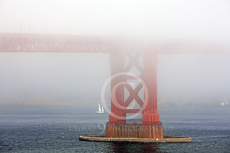 ENGF-GGB 00017 Bottom half of one tower of the Golden Gate Bridge in thick fog, by Peter J Mancus
