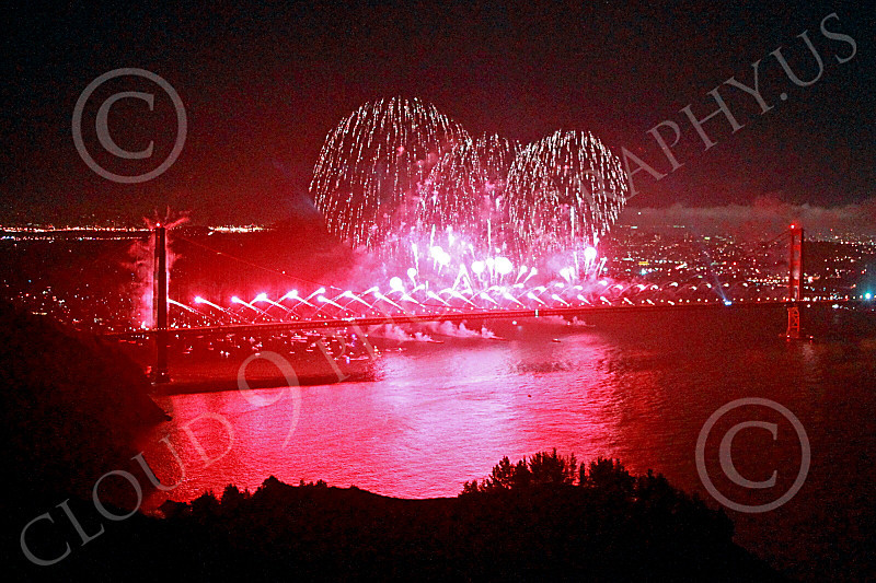 ENGF-GGB 00340 Fabulous extensive red fireworks burst over the Golden Gate Bridge to celebrate a landmark anniversary picture by Peter J Mancus