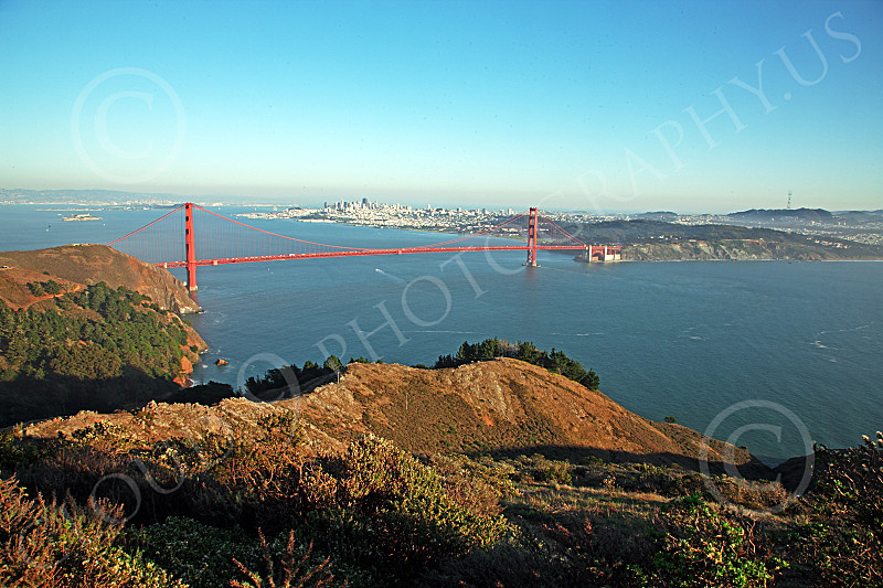 ENGF-GGB 00164 A very expansive view of the Golden Gate Bridge in afternoon light, with San Francisco in the background, by Peter J Mancus