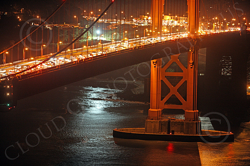 ENGF-GGB 00138 Close up detail Golden Gate Bridge south tower at night, by Peter J Mancus