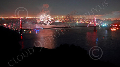ENGF-GGB 00374 Fireworks burst above the Golden Gate Bridge to celebrate a landmark anniversary picture by Peter J Mancus