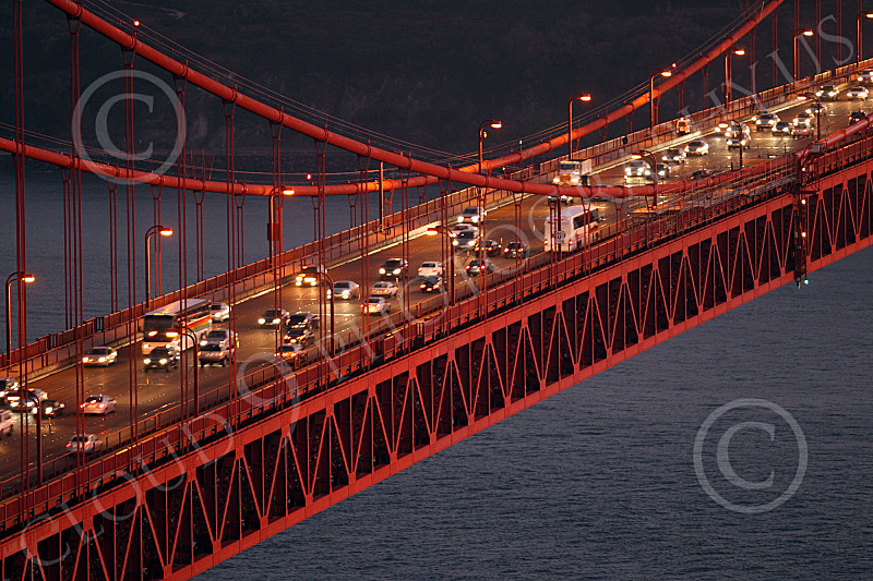 ENGF-GGB 00062 Traffic on the Golden Gate Bridge at night, by Peter J Mancus