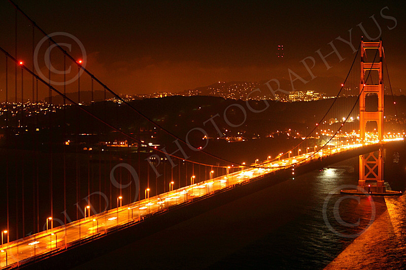 ENGF-GGB 00050  The main span of the Golden Gate Bridge at night, by Peter J Mancus