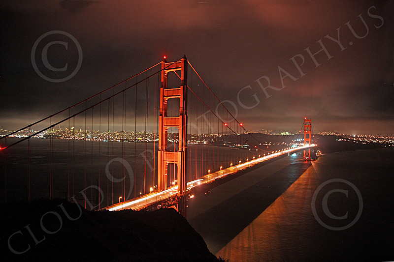 ENGF-GGB 00160 A night scene of the Golden Gate Bridge, facing south from the Marin Headlands, by Peter J Mancus