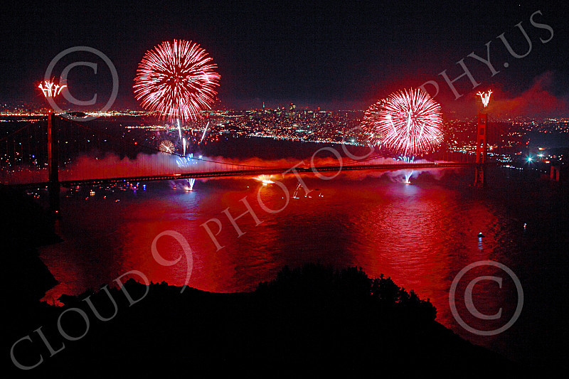 ENGF-GGB 00346 Pink fireworks burst above the Golden Gate Bridge to celebrate a landmark anniversary picture by Peter J Mancus