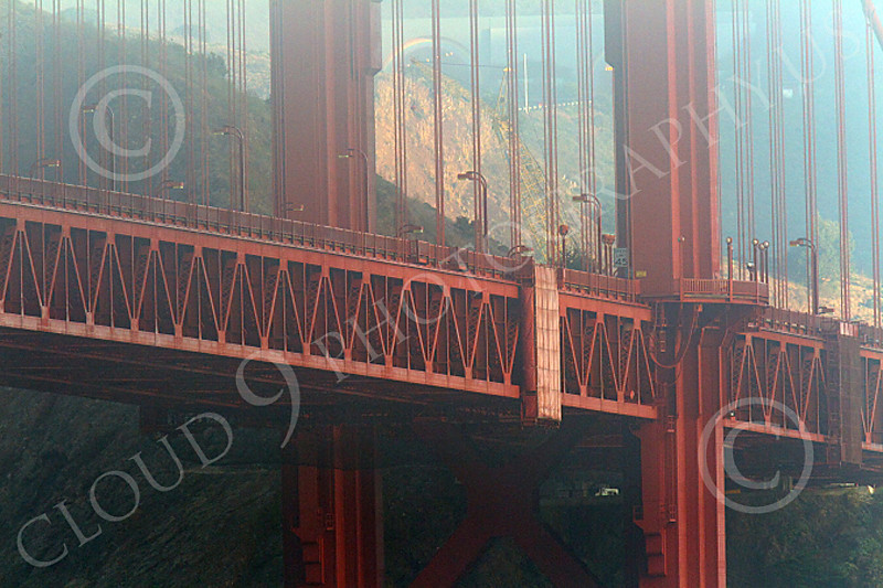 ENGF-GGB 00010 Close up of details of the Golden Gate Bridge in early morning mild fog, by Peter J Mancus