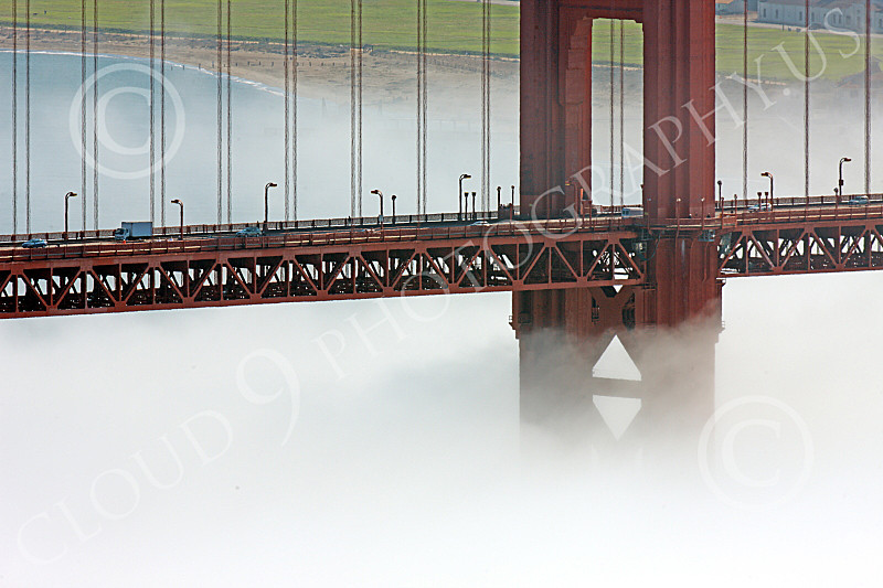 ENGF-GGB 00168 A tight crop of part of the Golden Gate Bridge's south tower, in fog, by Peter J Mancus