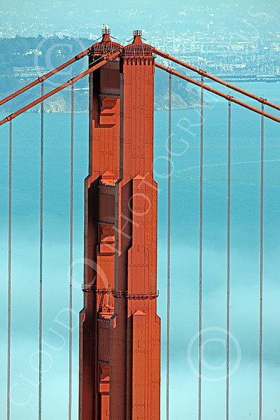 ENGF-GGB 00191 A tight crop of the upper end of the Golden Gate Bridge's northern tower, by Peter J Mancus