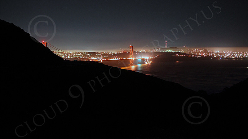 ENGF-GGB 00101 An extremely expansive night view of the Golden Gate Bridge, from the north looking south, by Peter J Mancus
