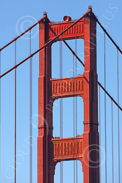 ENGF-GGB 00013 Close up of the top of the south tower of the Golden Gate Bridge in daylight, by Peter J Mancus