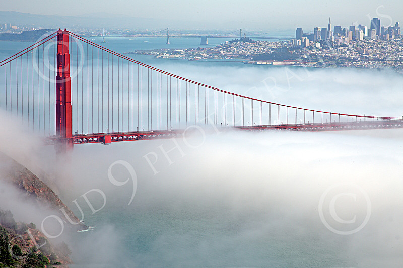 ENGF-GGB 00206 The northern end of the Golden Gate Bridge, engulfed in fog, by Peter J Mancus